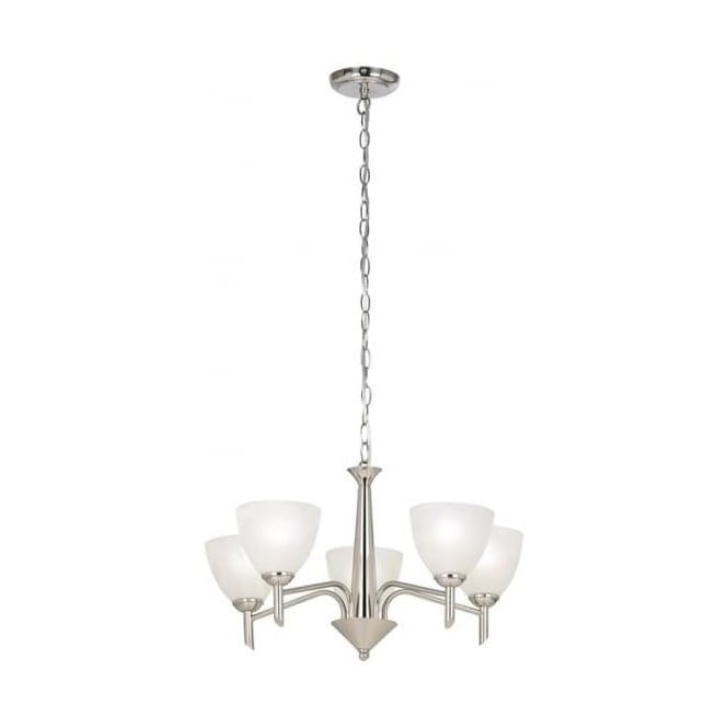 Endon Lighting Neeson Satin Nickel 5Lt Indoor Multi-Arm Pendant Light with Alabaster Glass (NEESON-5SN)