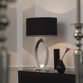 Endon Lighting Nerino Silver 1Lt Indoor Table Lamp with Black Silk Shade with Taupe Inner (NERINO)