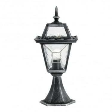 Endon Lighting Riverdale Black Brushed Silver 1Lt Outdoor Post Floor Light with Clear Leaded Glass (YG-4501)