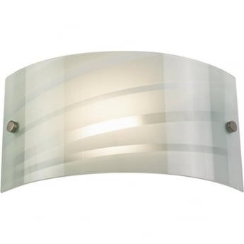 Endon Lighting Salsa Patterned Gloss White Glass 1Lt Indoor Wall Light with Satin Chrome Clips (96220-WBWH)