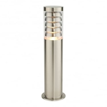 Endon Lighting Tango Brushed Stainless Steel 1Lt Outdoor Post Floor Light with Clear Polycarbonate (13922)