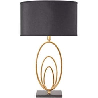 Endon Lighting Vilana Antique Gold Leaf & Black Faux Silk 1Lt Table Light