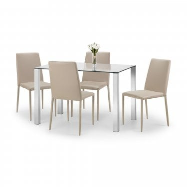 Enzo Jazz Dining Set Of 4, Sand Linen