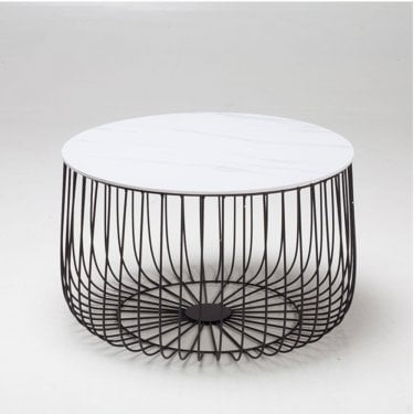 Enzo Large White Marble Cage Table