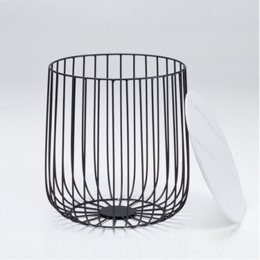 Enzo Small White Marble Cage Table