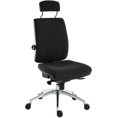 Ergo Plus Black Operator Chair with Matching Headrest and Aluminium Pyramid Base