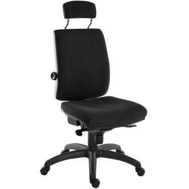 Ergo Plus Black Operator Chair with Matching Headrest and Nylon Base