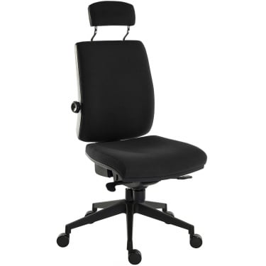 Ergo Plus Black Operator Chair with Matching Headrest and Nylon Pyramid Base