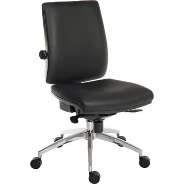 Ergo Plus Black PU Operator Chair with Aluminium Pyramid Base