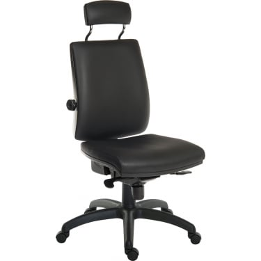Ergo Plus Black PU Operator Chair with Matching Headrest and Nylon Base