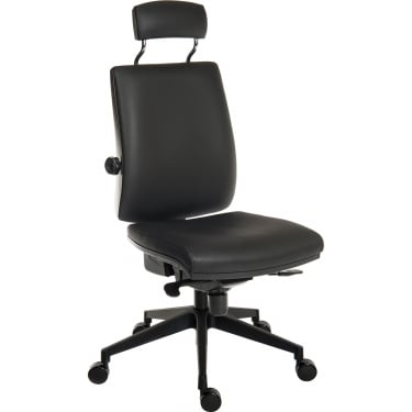 Ergo Plus Black PU Operator Chair with Matching Headrest and Nylon Pyramid Base