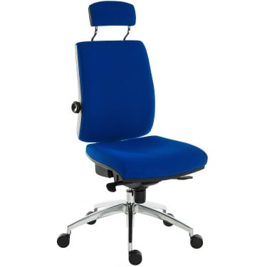 Ergo Plus Blue Operator Chair with Matching Headrest and Aluminium Pyramid Base