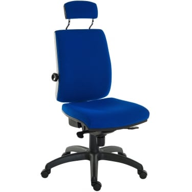Ergo Plus Blue Operator Chair with Matching Headrest and Nylon Base