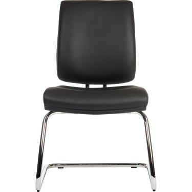Ergo Visitor Black PU Visitor Chair with Chrome Frame