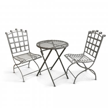 Felbrigg Galvanised Metal 3 Piece Folding Patio Dining Set