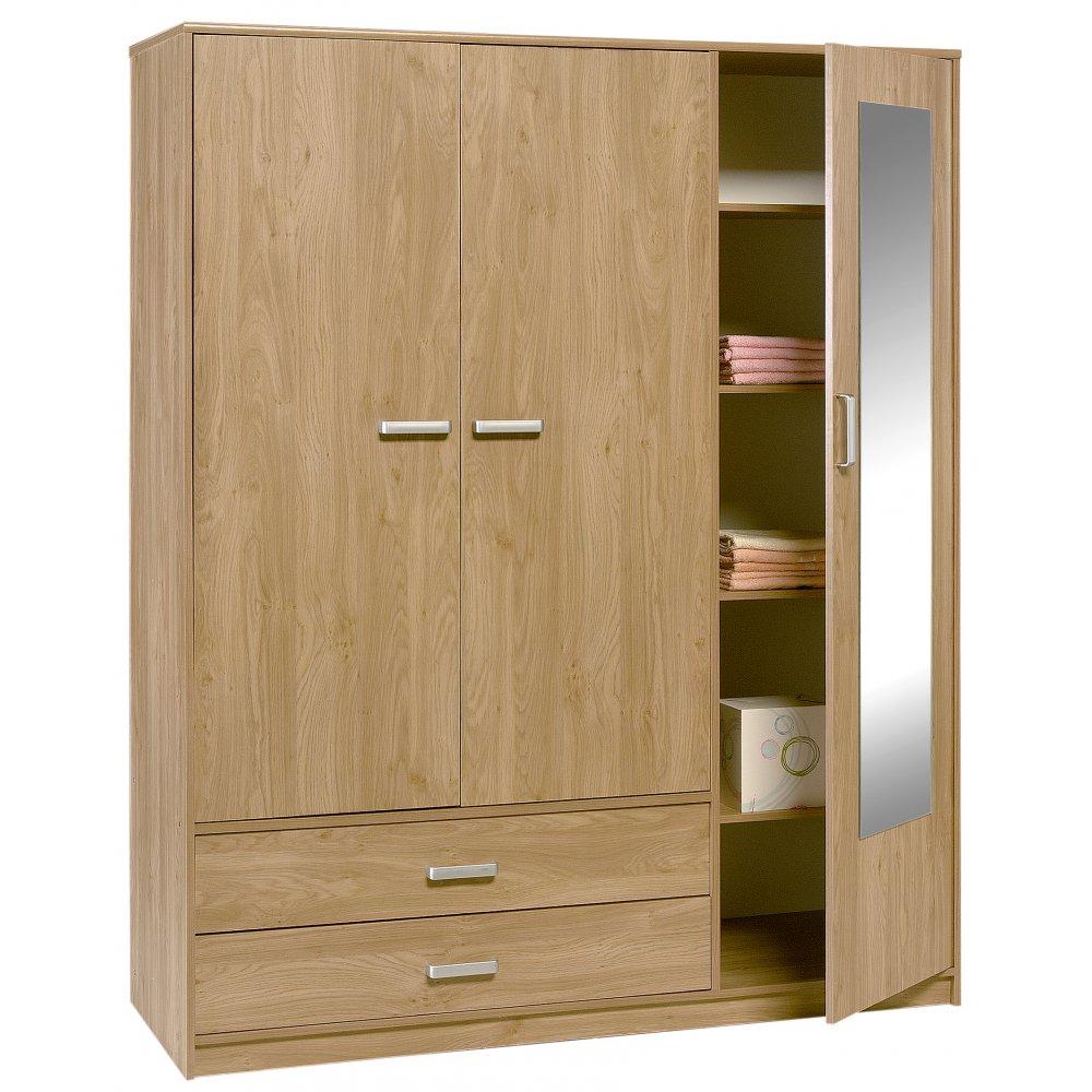 Homelane 3 door wardrobe with mirror for Mirror wardrobe