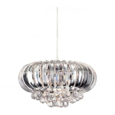 Firstlight Crown Chrome 1Lt Pendant Light with Clear Acrylic (8633CH)
