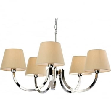 Firstlight Fairmont Polished Stainless Steel 5lt Chandelier with Cream Linen Shades