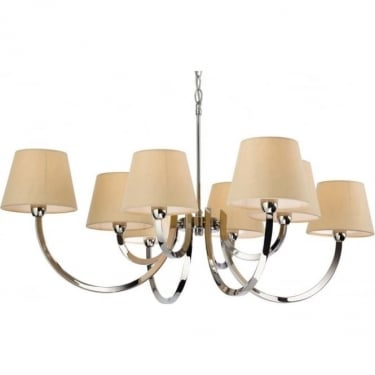 Firstlight Fairmont Polished Stainless Steel 8lt Chandelier with Cream Linen Shades