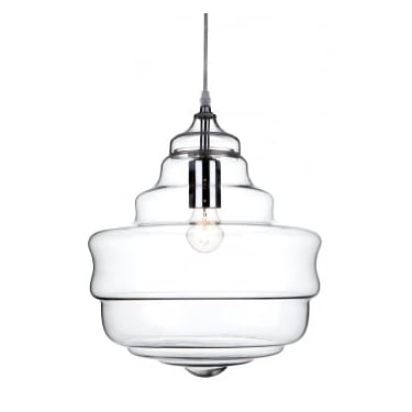 Firstlight Lazio Chrome 1lt Pendant Ceiling Light With Clear Glass
