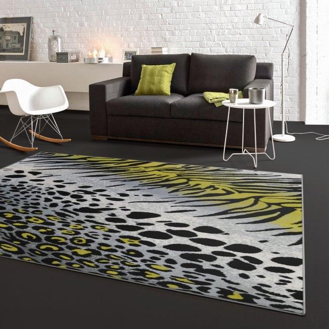 Flair Grey & Green Animal Print Rug 170x120cm (33282-150-120170)