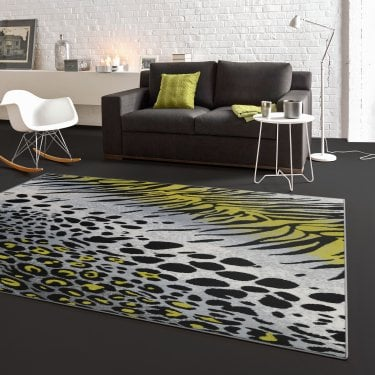 Flair Grey & Green Animal Print Rug 170x120cm (33282-150-120170)
