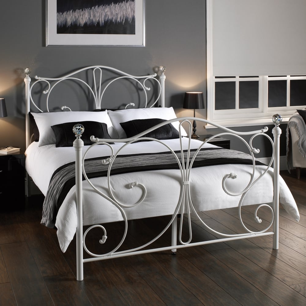 LPD Furniture Florence White Metal Bed Leader Stores