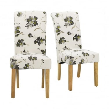 Freya Floral Grey & Lime Dining Chair Pair