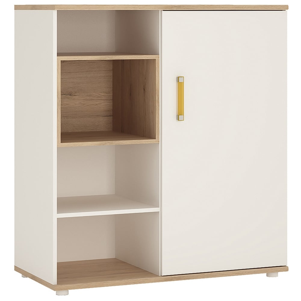 4KIDS High Gloss White U0026amp; Light Oak 1 Door Low Cabinet With Orange Handle