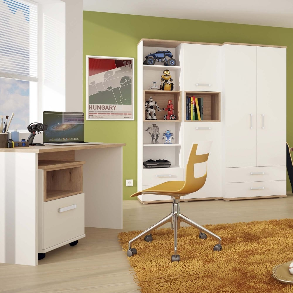 4KIDS High Gloss White U0026amp; Light Oak 1 Drawer Single Bed With Opalino  Handle