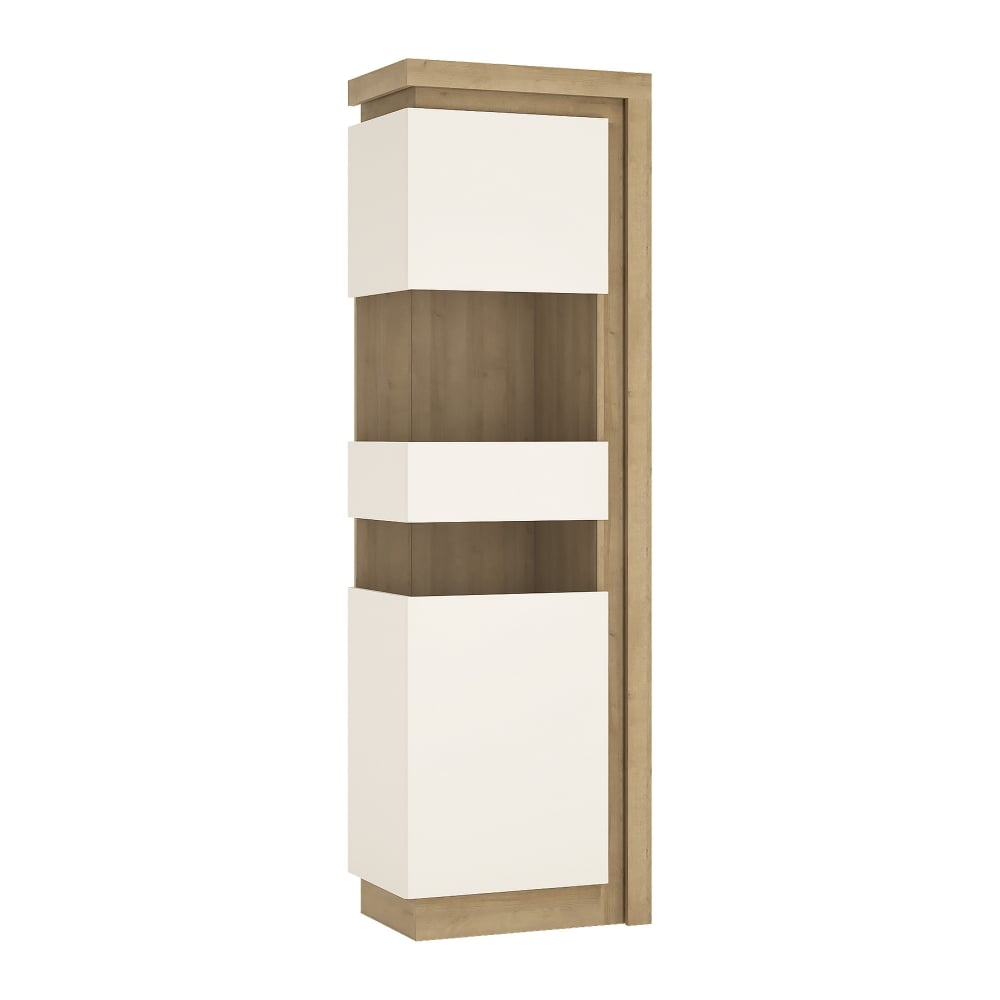 Genial Lyon High Gloss White U0026amp; Riviera Oak Left Handed Tall Narrow Display Unit