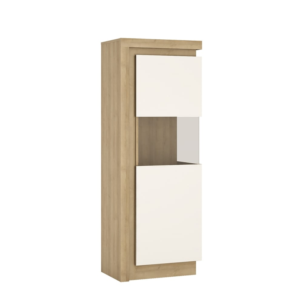 Lyon High Gloss White U0026amp; Riviera Oak Right Handed Narrow Display Unit