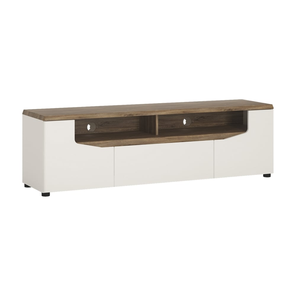 Toledo High Gloss Alpine White U0026amp; Stirling Oak 1 Drawer 2 Door Wide ...