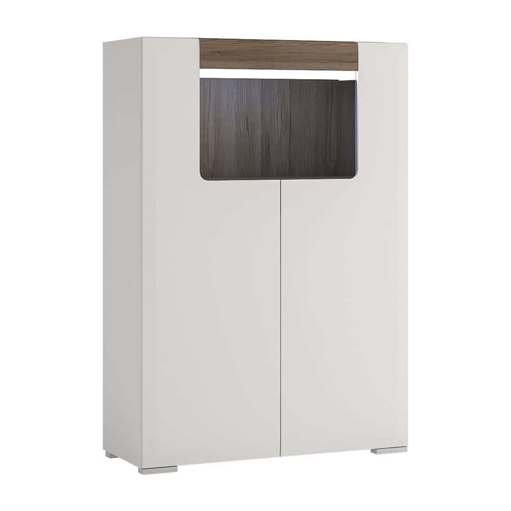 Toronto High Gloss White U0026amp; San Remo Oak Inset 2 Door Low Cabinet