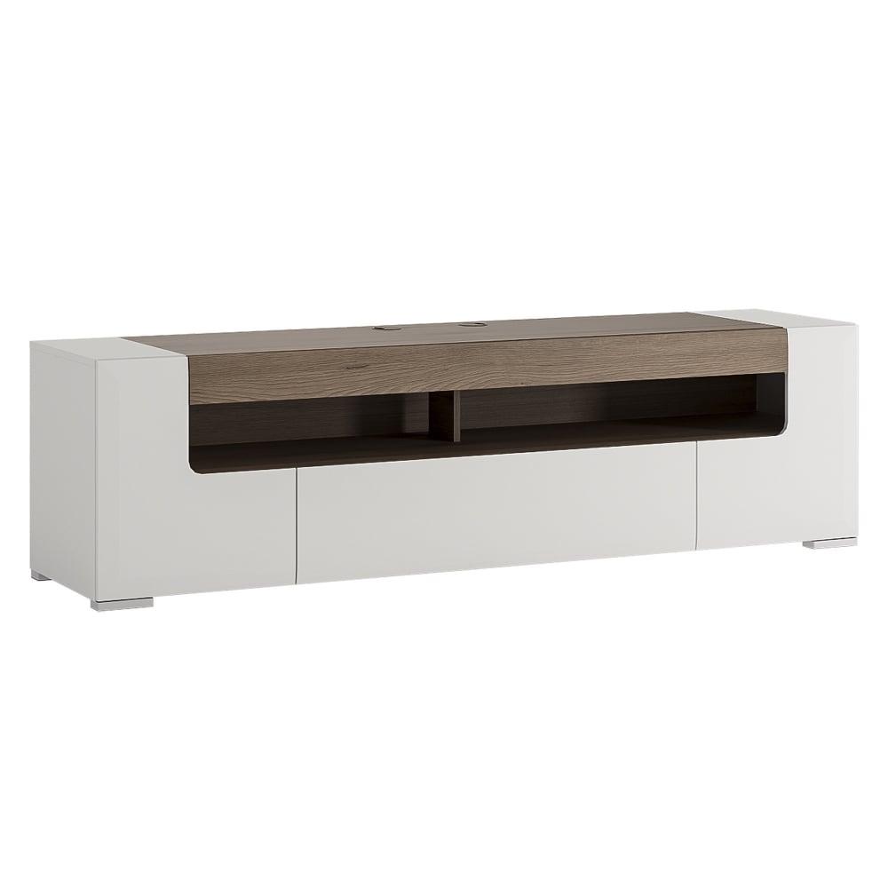 Furniture To Go Toronto White & San Remo Oak Inset TV Unit | Leader ...