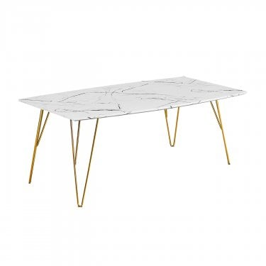 Fusion Coffee Table, White & Marble