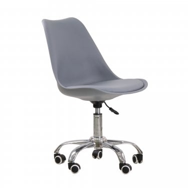 Gaige Office Chair, Grey & Faux Leather