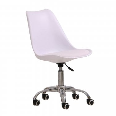 Gaige Office Chair, White & Faux Leather