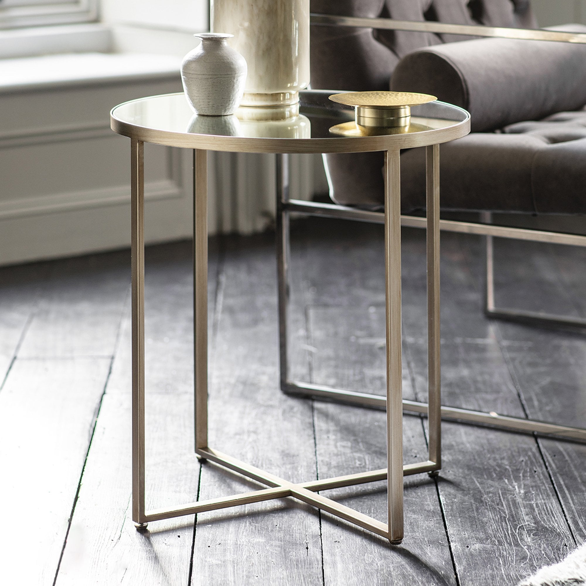 Gallery Direct Torrance Side Table Smoked Grey Matt Silver Leader Furniture [ 2000 x 2000 Pixel ]