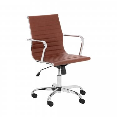 Gio Office Chair, Brown Faux Leather