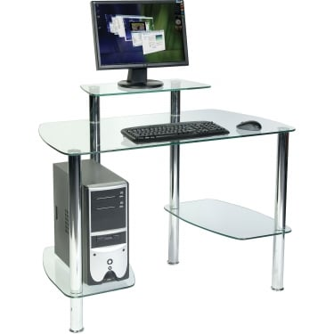 Glacier Clear Glass Workstation with Chrome Frame