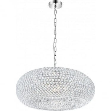 Globo Lighting Emilia Chrome 9Lt Indoor Pendant Light with K9 Crystals (67017-9H)