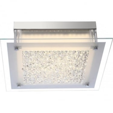 Globo Lighting Leah Frosted & Clear With K5 crystals 1Lt Indoor Ceiling Light (49311)