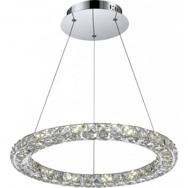 Globo Lighting Marilyn Chrome 1Lt Indoor Pendant Light with K9 Crystals (67037-24)
