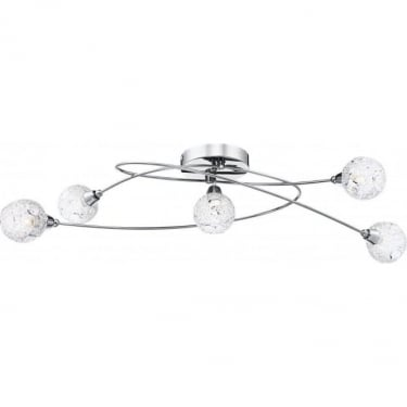 Globo Lighting Sinclair Braid With Clear Crystals 5Lt Indoor Multi-Arm Ceiling Light (5669-5D)
