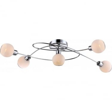 Globo Lighting Siony Chrome 5Lt Indoor Multi-Arm Ceiling Light with Opal with Clear Edge (56963-5)