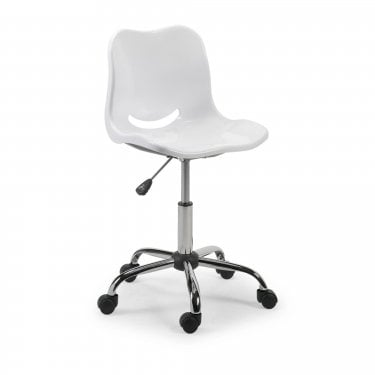 Gloss White & Chrome Swivel Chair