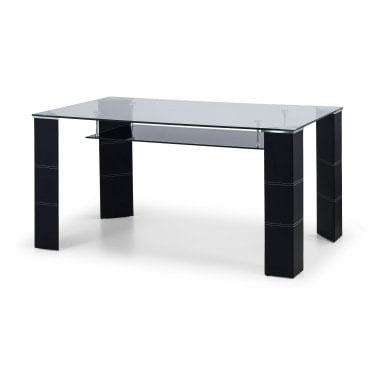 Greenwich Black & Clear Glass Dining Table
