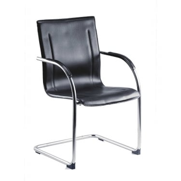Guest Black & Chrome Reception Chair with Chrome Frame