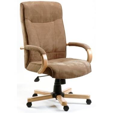 Guildford Cappuccino Executive Armchair with Light Wood Base